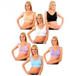 Lot de 6 soutiens gorges Bra taille XL (blanc, noir, beige, rose, bleu, mauve)