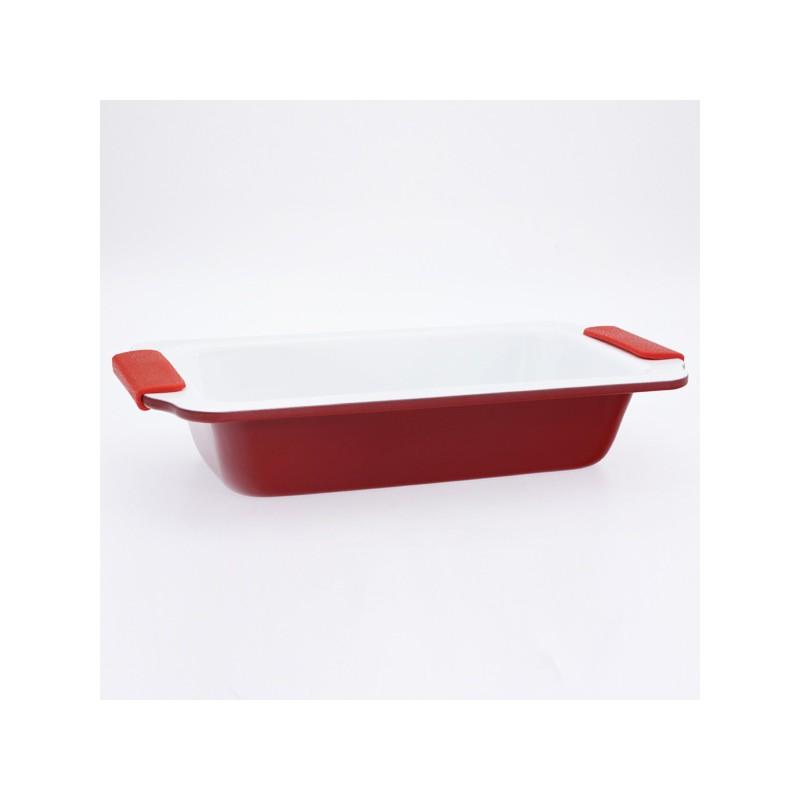 moule cake 24 cm avec rev tement c ramique et poign es en silicone tendance plus. Black Bedroom Furniture Sets. Home Design Ideas