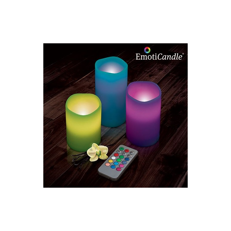 set de 3 bougies led 12 couleurs avec t l commande tendance plus. Black Bedroom Furniture Sets. Home Design Ideas