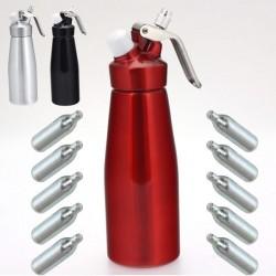 Siphon chantilly ALUMINIUM chaud/froid 500 ml - 2ème génération + 10 recharges