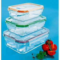 Set de 3 plats à four en verre avec couvercles hermétiques