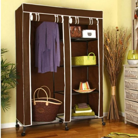 armoire de rangement double avec penderie 5 tag res tendance plus. Black Bedroom Furniture Sets. Home Design Ideas