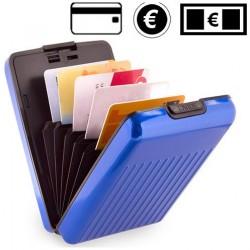 Porte cartes en aluminium bleu