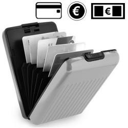 Porte cartes en aluminium gris