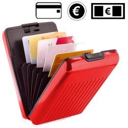 Porte cartes en aluminium rouge