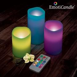 Set de 3 bougies à LED 12 couleurs avec télécommande