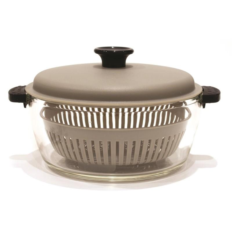 cocotte en verre 2 5 l panier vapeur tendance plus. Black Bedroom Furniture Sets. Home Design Ideas