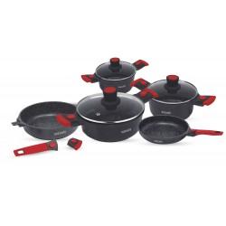 Batterie de cuisine 20 pièces rouge et noir