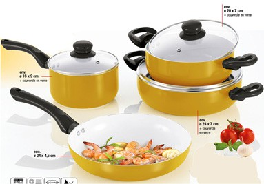 Set de cuisson céramique 7 pièces edition dorée - Bratmaxx